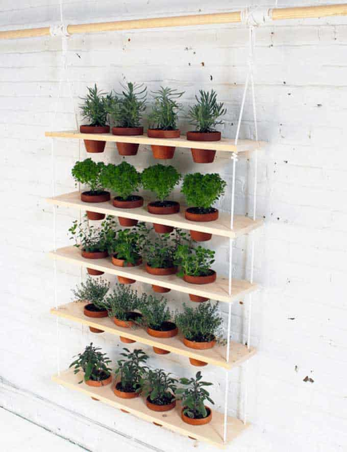 vertical planter with pots