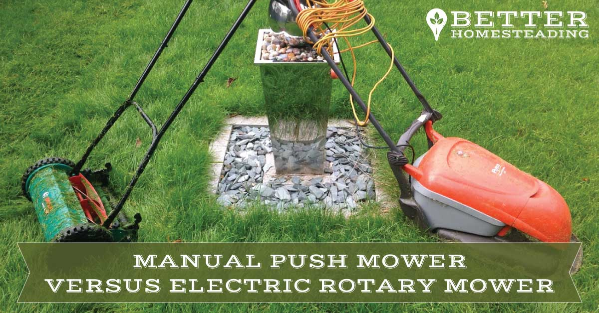 Manual push reel mower versus electric rotary mower