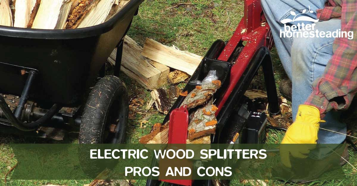 Man operating an electric wood splitter with split logs and a wheelbarrow being used to transport