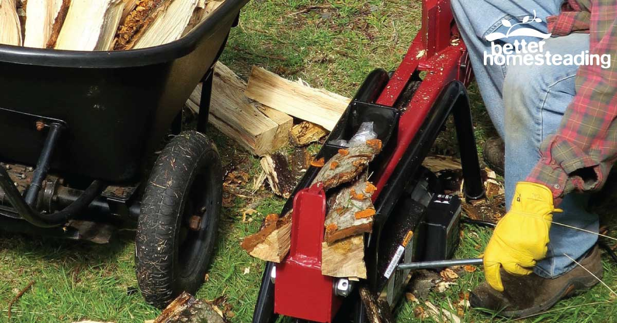 Hydraulic log splitter in operation