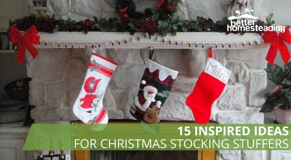 Ideas for christmas stocking stuffers - 3 stockings in front of hearth