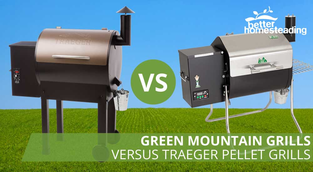 Green mountain grill vs traegar grills like these two grills on a background of green fields