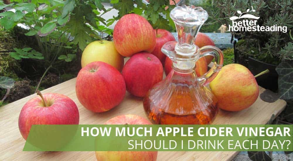 Apples and apple cider vinegar on a table ready for drinking