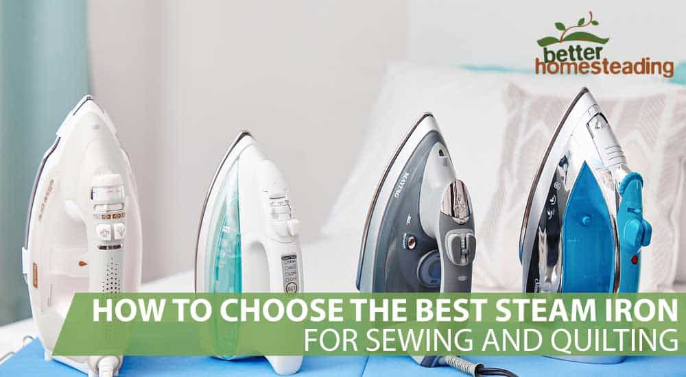 Some of the best steam irons for sewing and quilting displayed on an ironing board